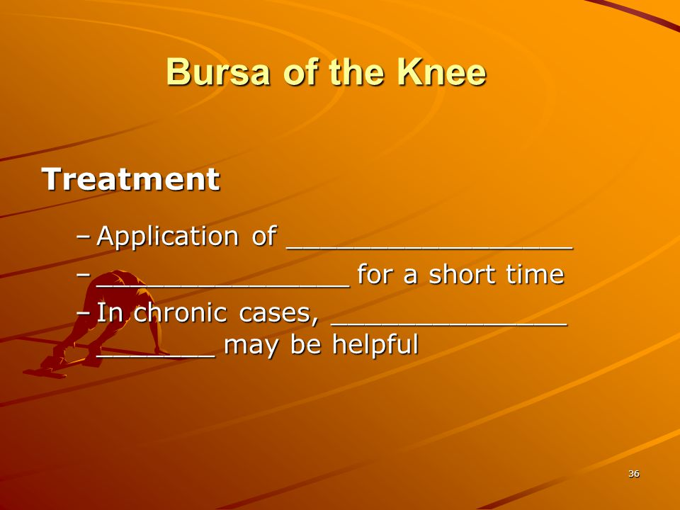 Bursa of the Knee Treatment Application of _________________