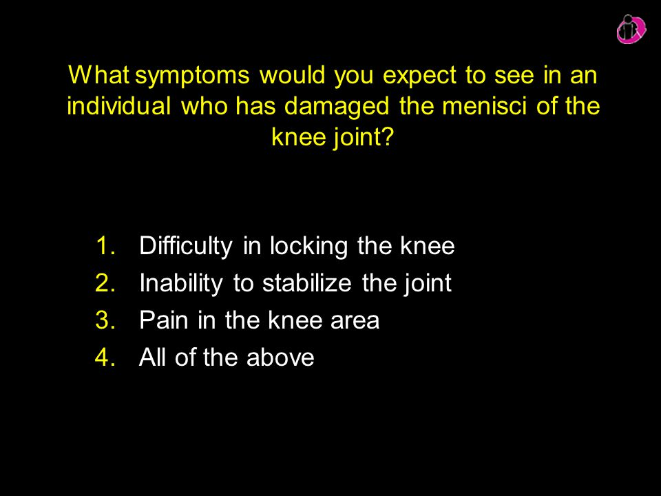 Difficulty in locking the knee Inability to stabilize the joint