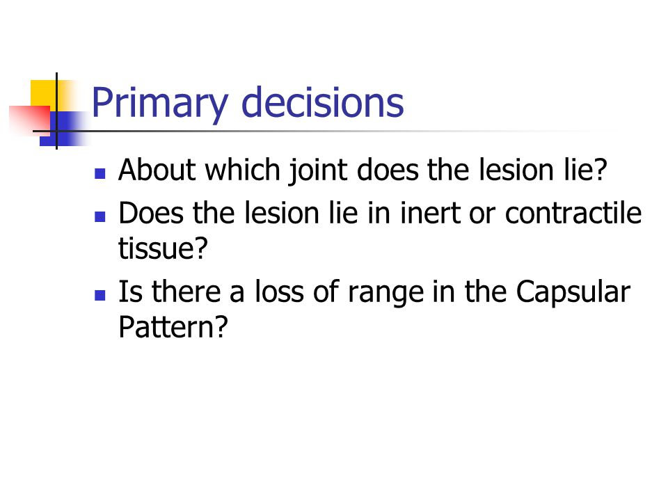 Primary decisions About which joint does the lesion lie