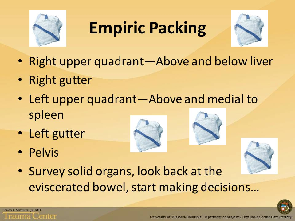 Empiric Packing Right upper quadrant—Above and below liver