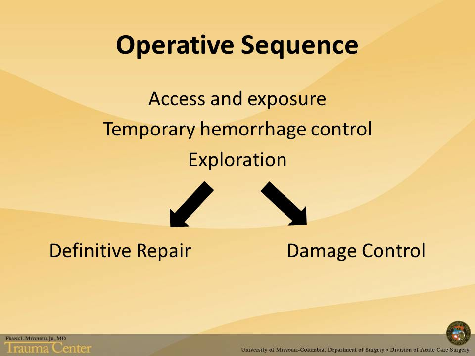 Operative Sequence Access and exposure Temporary hemorrhage control Exploration Definitive Repair Damage Control