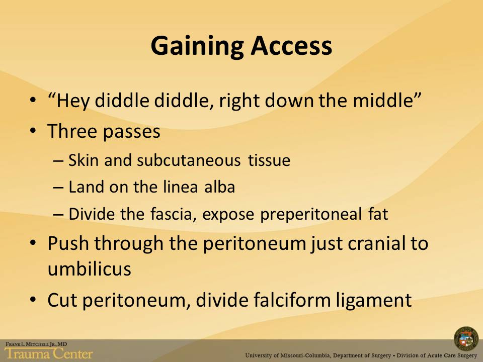 Gaining Access Hey diddle diddle, right down the middle Three passes