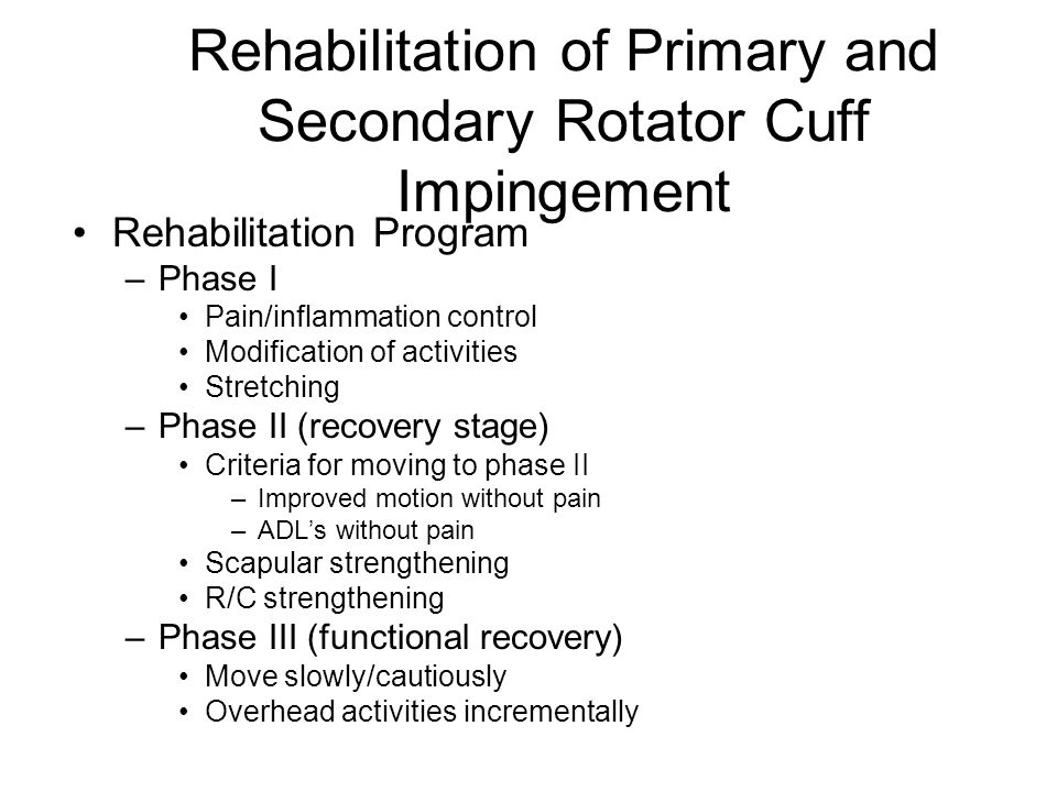 Rehabilitation of Primary and Secondary Rotator Cuff Impingement
