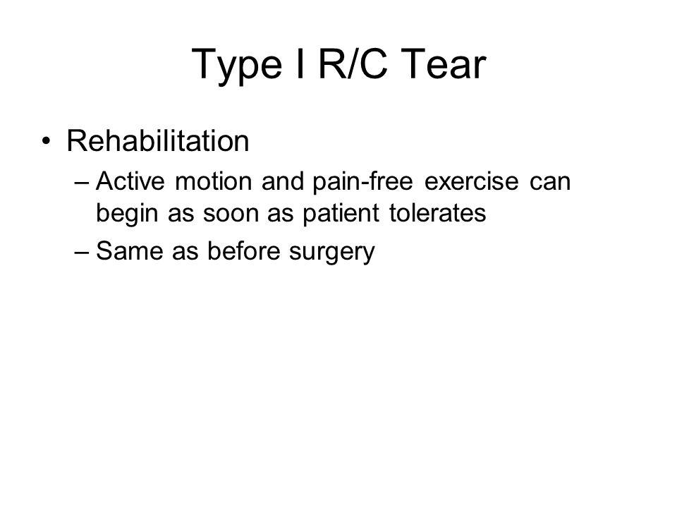 Type I R/C Tear Rehabilitation
