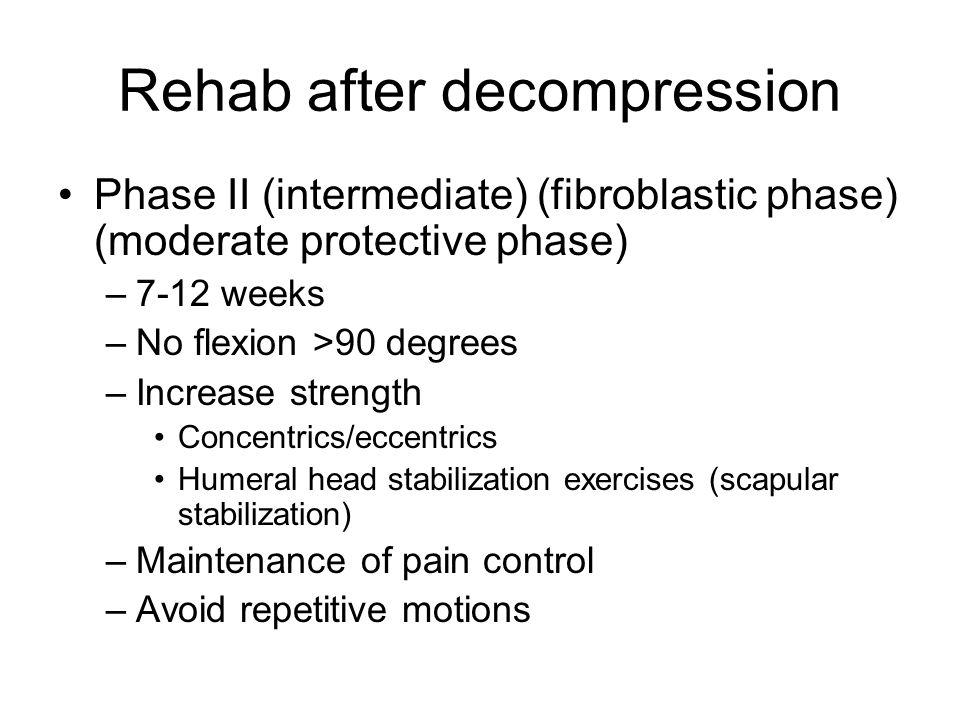 Rehab after decompression