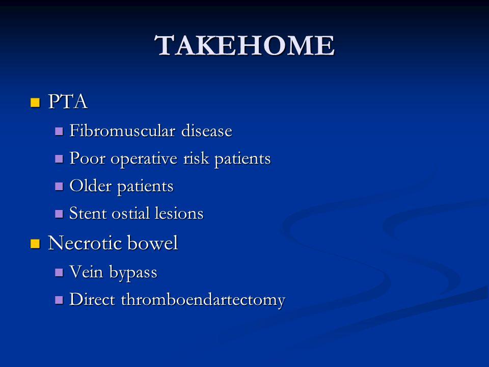 TAKEHOME PTA Necrotic bowel Fibromuscular disease