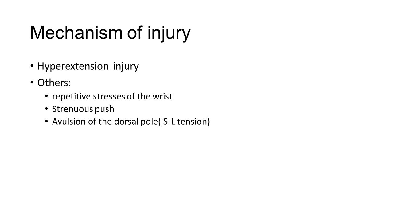 Mechanism of injury Hyperextension injury Others: