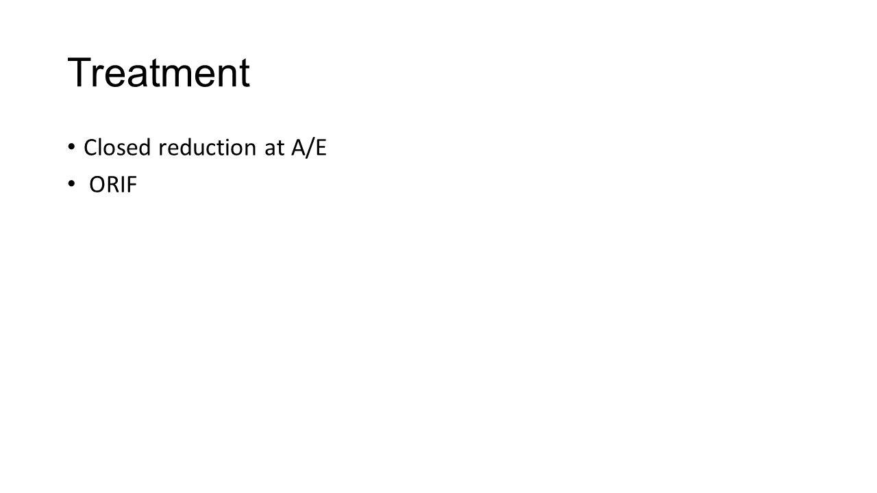 Treatment Closed reduction at A/E ORIF