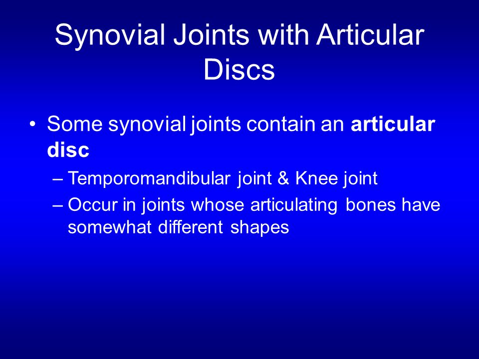 Synovial Joints with Articular Discs