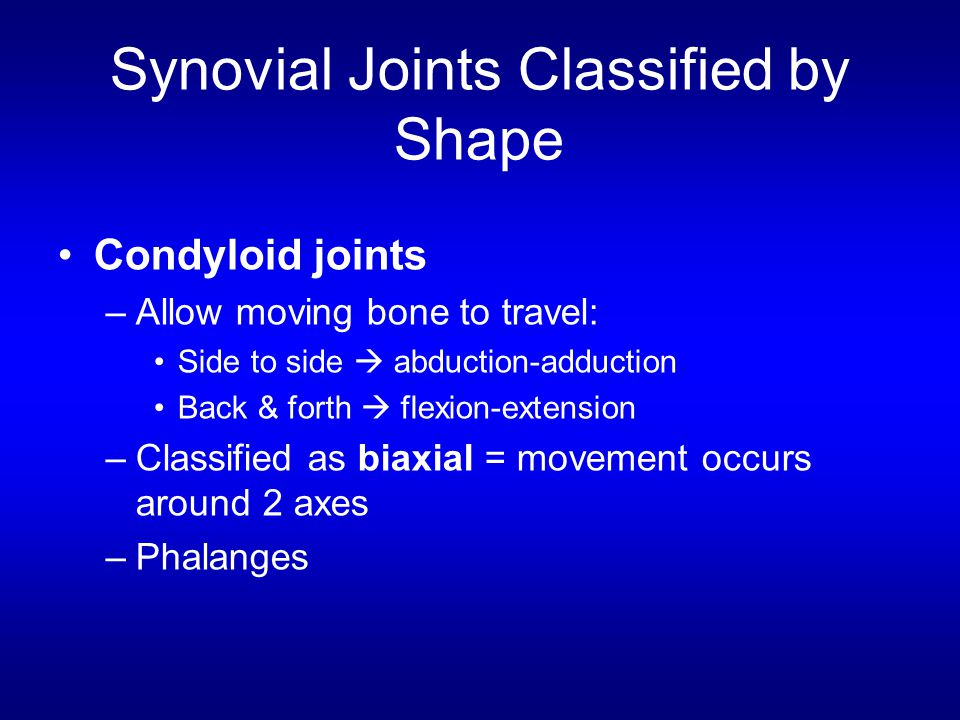 Synovial Joints Classified by Shape