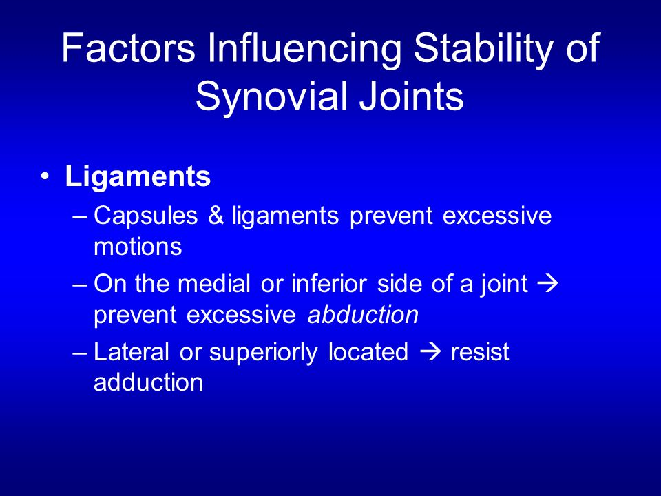 Factors Influencing Stability of Synovial Joints