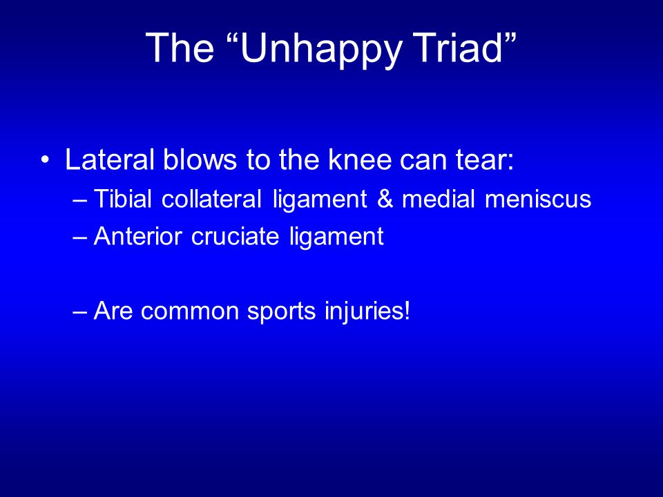 The Unhappy Triad Lateral blows to the knee can tear: