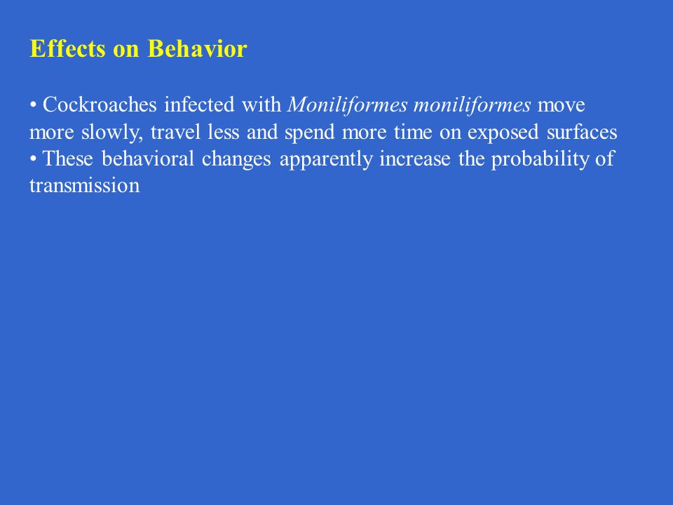 Effects on Behavior Cockroaches infected with Moniliformes moniliformes move more slowly, travel less and spend more time on exposed surfaces.