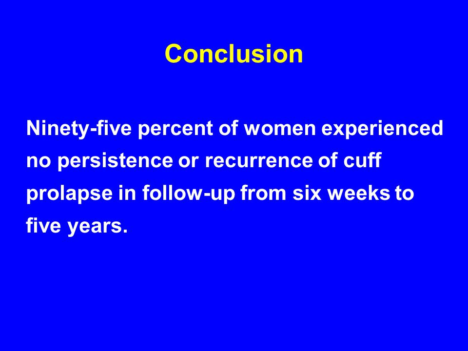 Conclusion Ninety-five percent of women experienced no persistence or recurrence of cuff prolapse in follow-up from six weeks to five years.