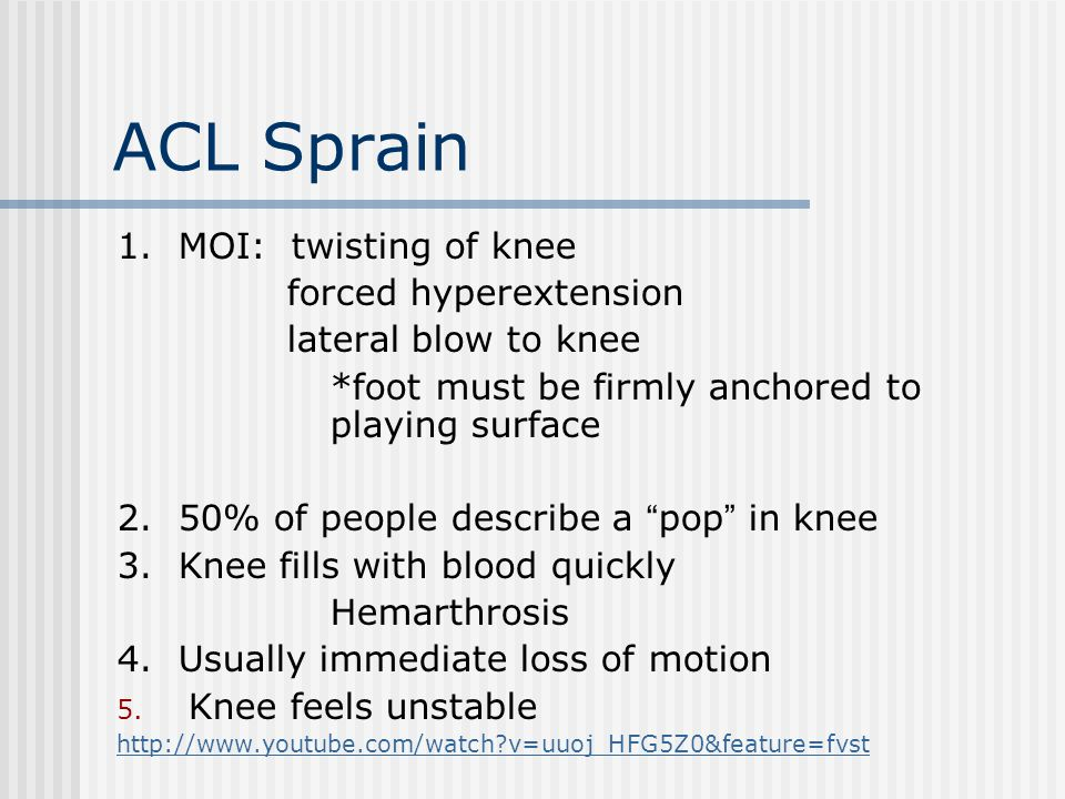 ACL Sprain 1. MOI: twisting of knee forced hyperextension