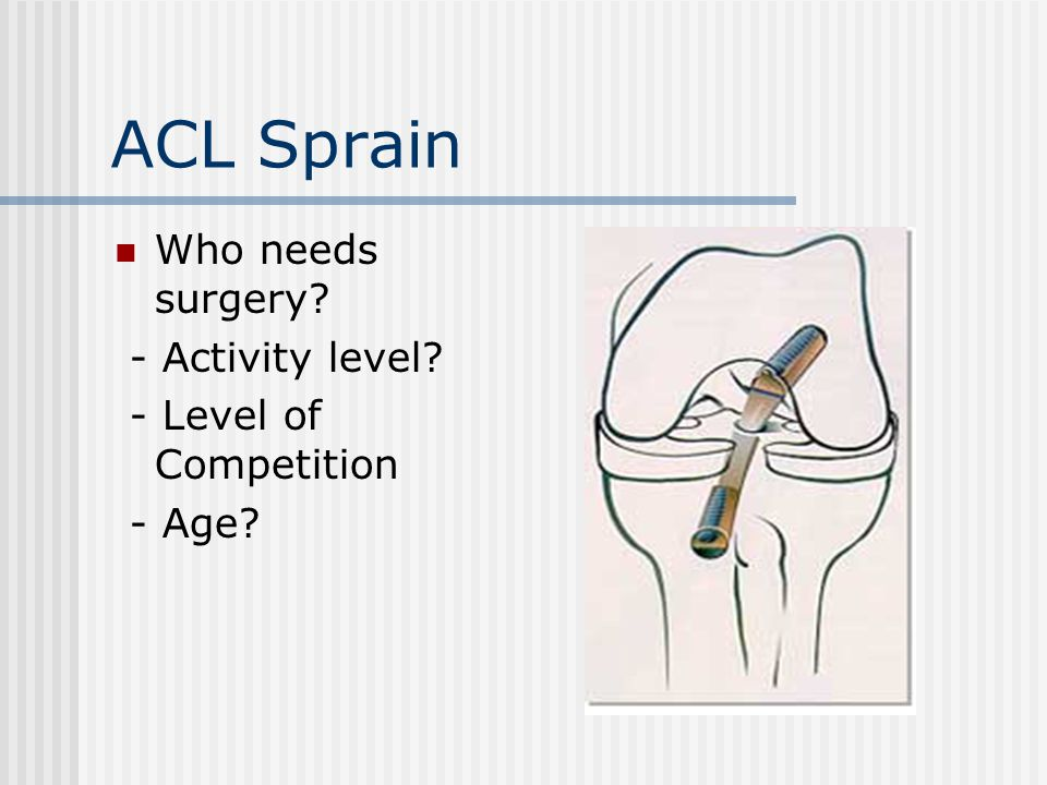 ACL Sprain Who needs surgery - Activity level - Level of Competition