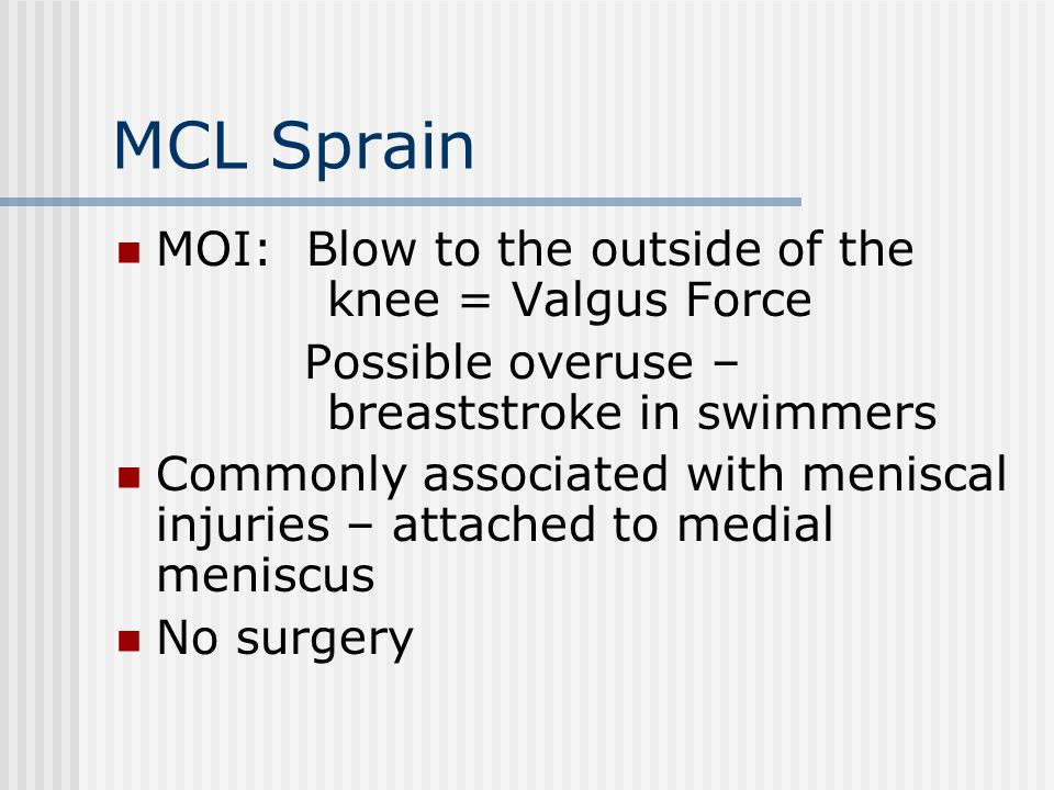 MCL Sprain MOI: Blow to the outside of the knee = Valgus Force