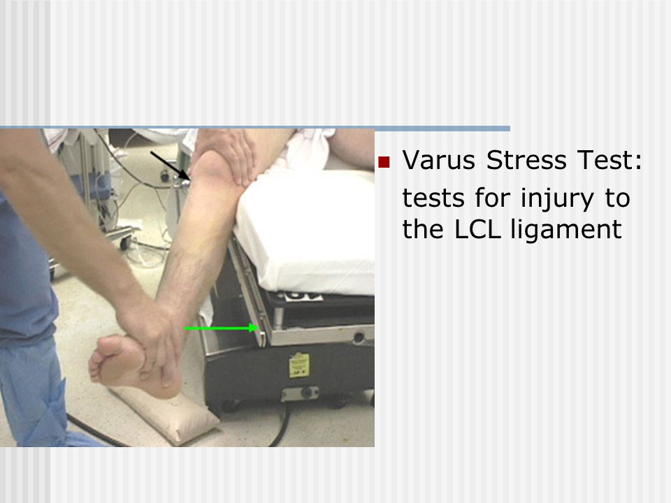 Varus Stress Test: tests for injury to the LCL ligament
