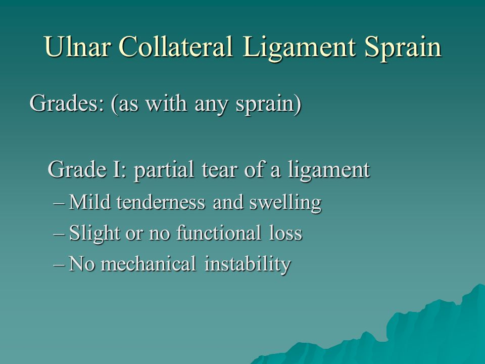Ulnar Collateral Ligament Sprain
