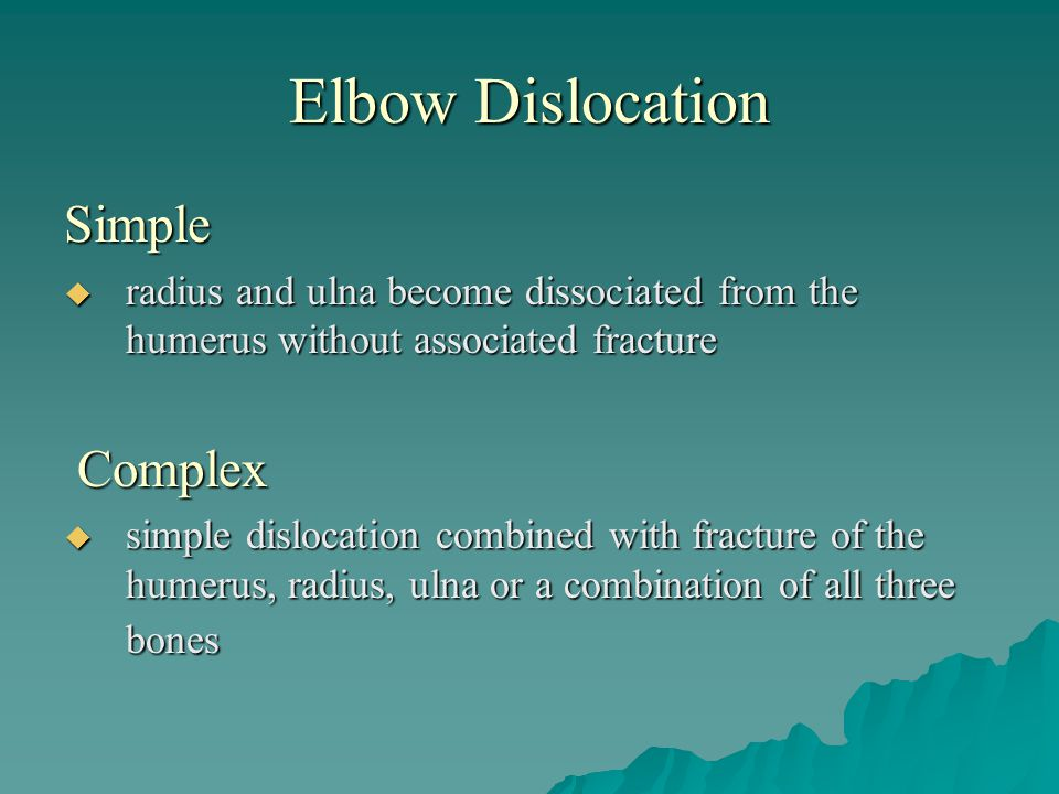 Elbow Dislocation Simple Complex