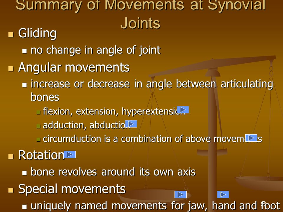 Summary of Movements at Synovial Joints