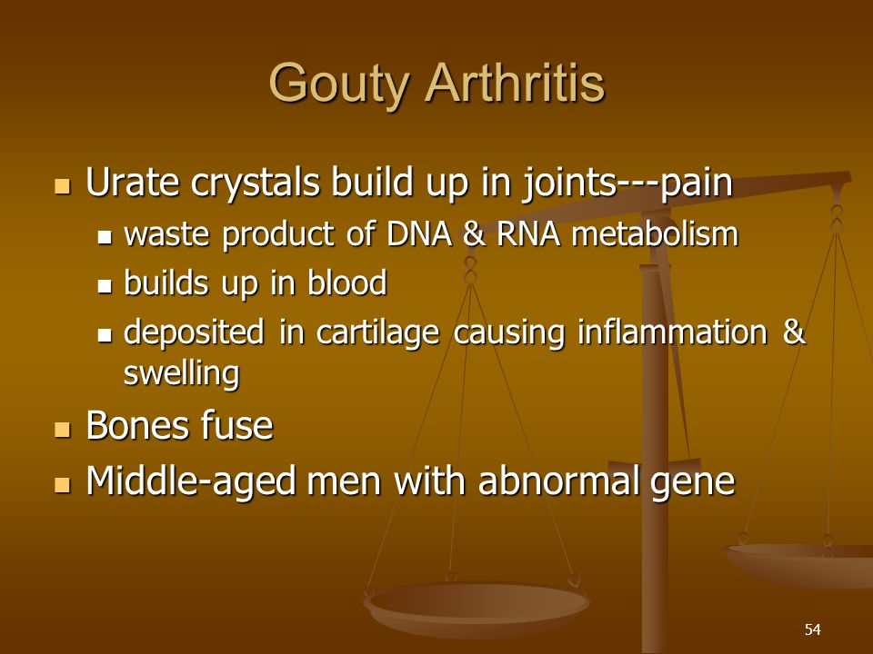 Gouty Arthritis Urate crystals build up in joints---pain Bones fuse
