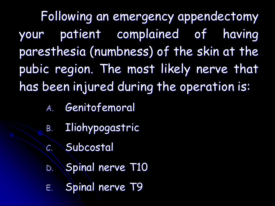 Following an emergency appendectomy your patient complained of having paresthesia (numbness) of the skin at the pubic region. The most likely nerve that has been injured during the operation is: