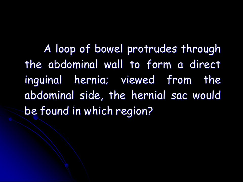 A loop of bowel protrudes through the abdominal wall to form a direct inguinal hernia; viewed from the abdominal side, the hernial sac would be found in which region