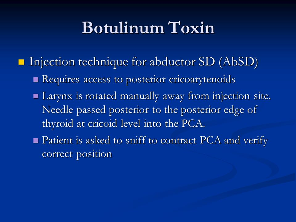 Botulinum Toxin Injection technique for abductor SD (AbSD)