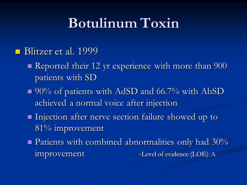 Botulinum Toxin Blitzer et al. 1999