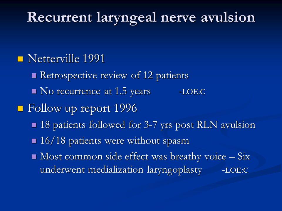 Recurrent laryngeal nerve avulsion