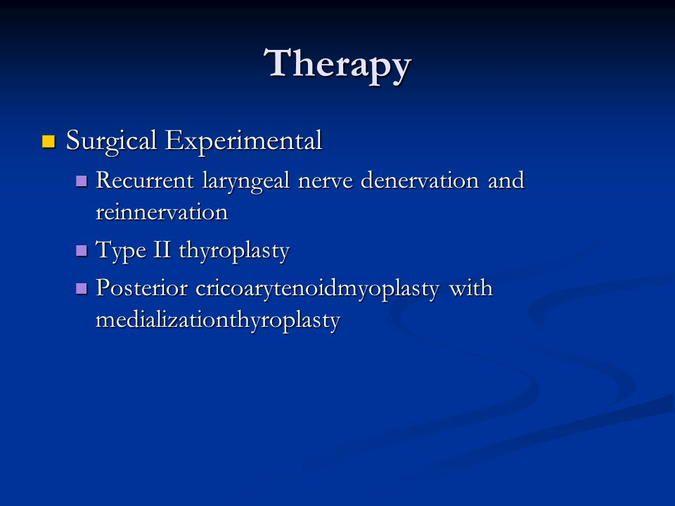 Therapy Surgical Experimental