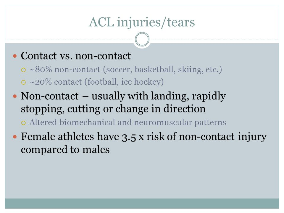 ACL injuries/tears Contact vs. non-contact