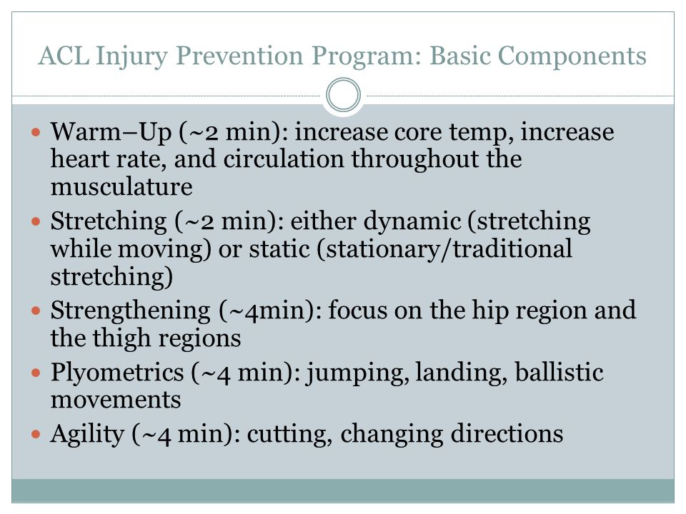 ACL Injury Prevention Program: Basic Components