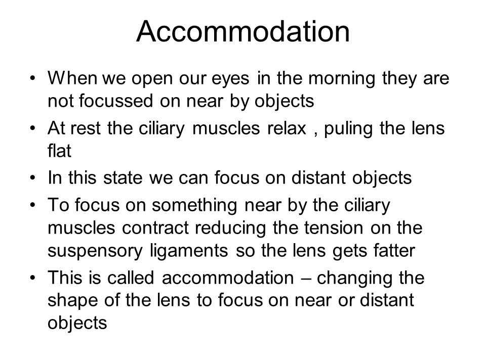 Accommodation When we open our eyes in the morning they are not focussed on near by objects.