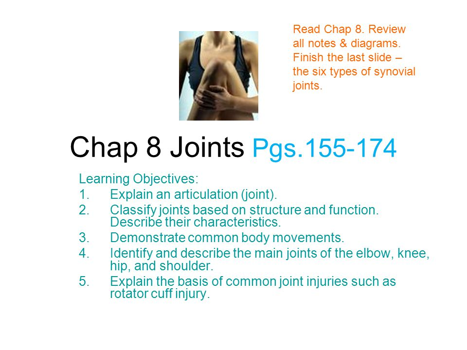 Chap 8 Joints Pgs.155-174 Learning Objectives: