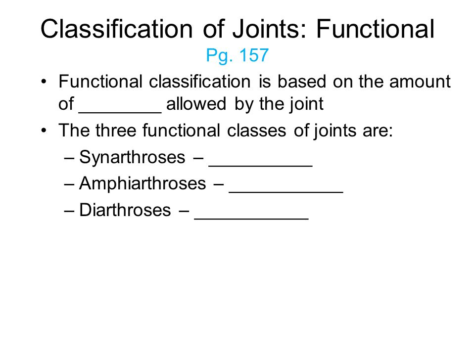 Classification of Joints: Functional Pg. 157