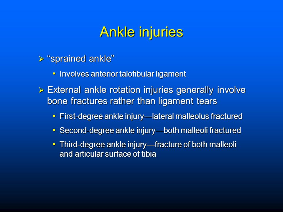 Ankle injuries sprained ankle