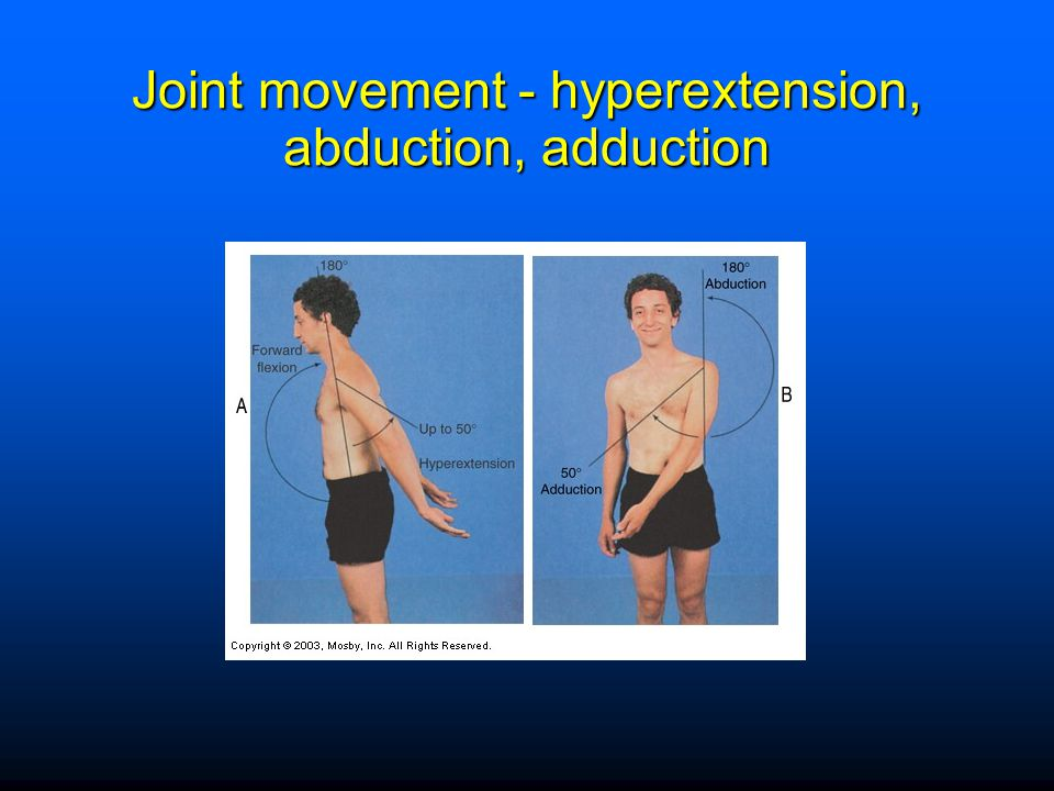 Joint movement - hyperextension, abduction, adduction