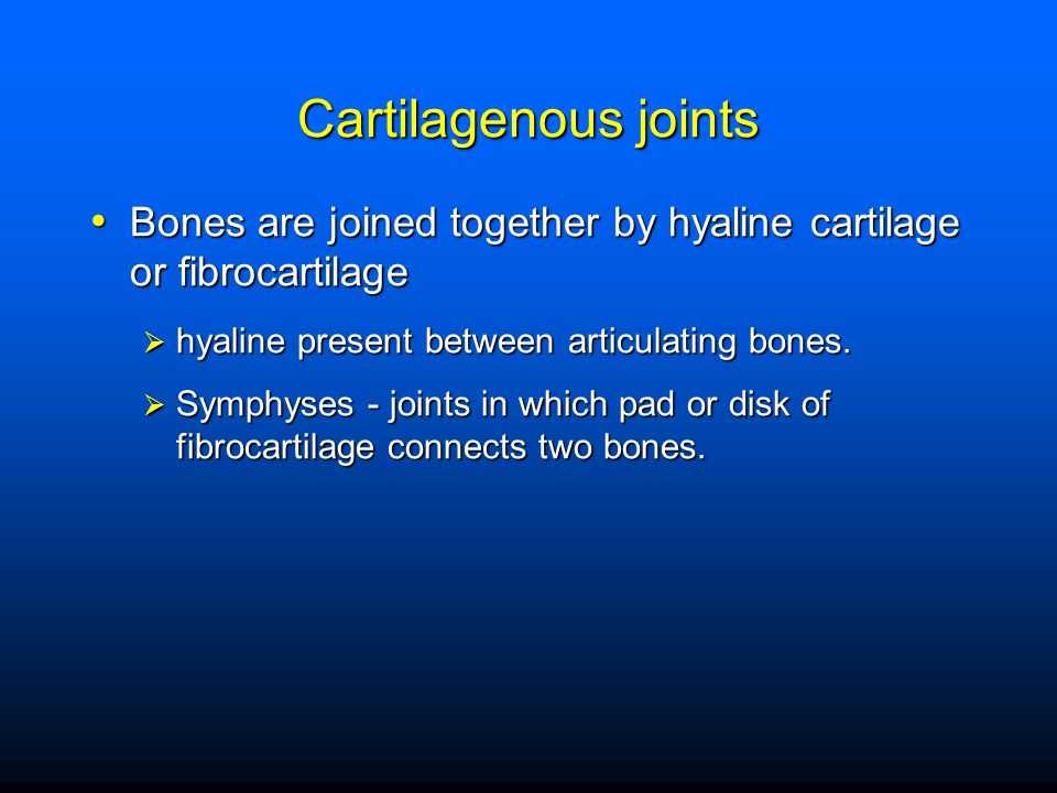 Cartilagenous joints Bones are joined together by hyaline cartilage or fibrocartilage. hyaline present between articulating bones.