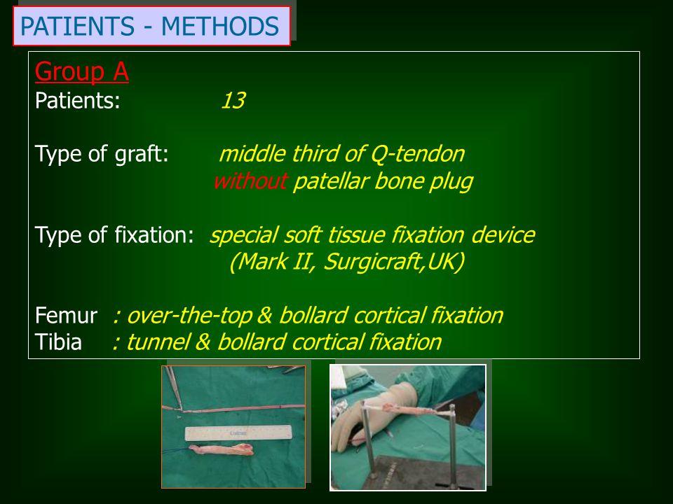 PATIENTS - METHODS Group A Patients: 13