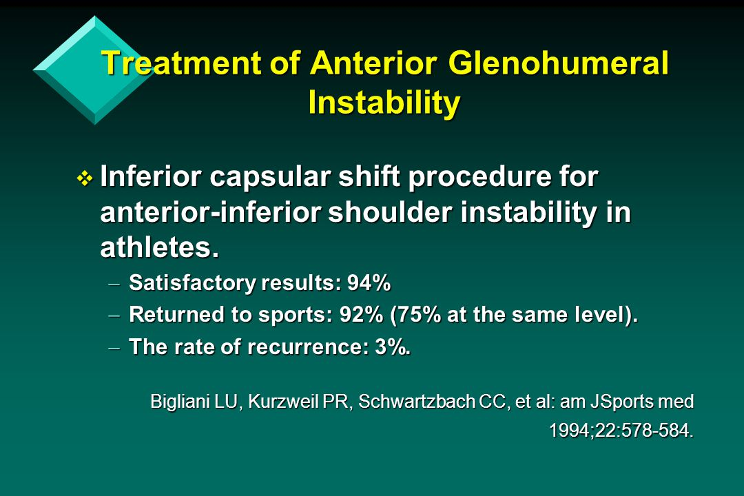 Treatment of Anterior Glenohumeral Instability