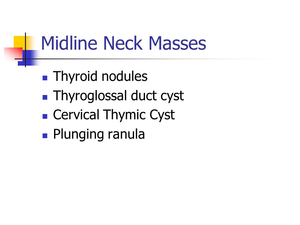 Midline Neck Masses Thyroid nodules Thyroglossal duct cyst