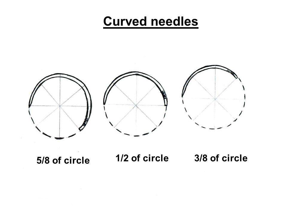 Curved needles 1/2 of circle 3/8 of circle 5/8 of circle