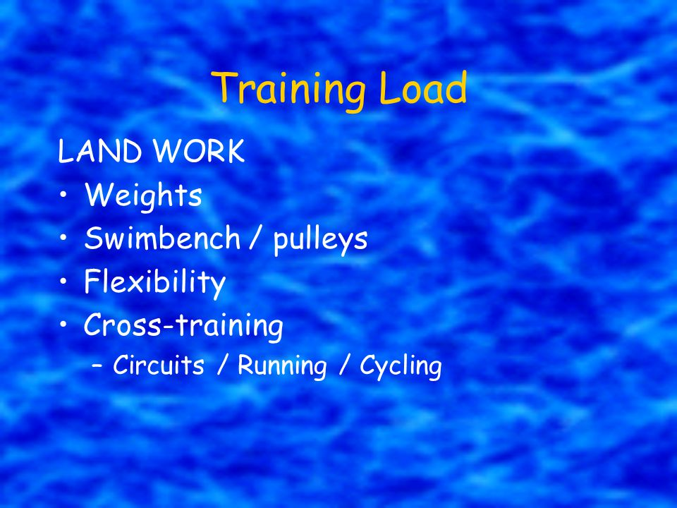 Training Load LAND WORK Weights Swimbench / pulleys Flexibility