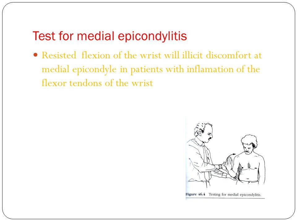 Test for medial epicondylitis