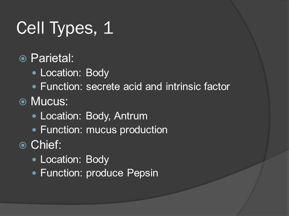 Cell Types, 1 Parietal: Mucus: Chief: Location: Body