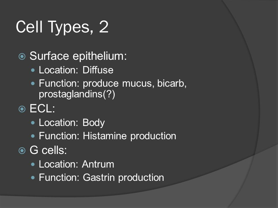 Cell Types, 2 Surface epithelium: ECL: G cells: Location: Diffuse