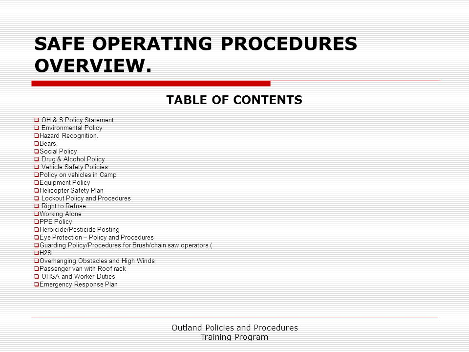 Safe Operating Procedures Overview.