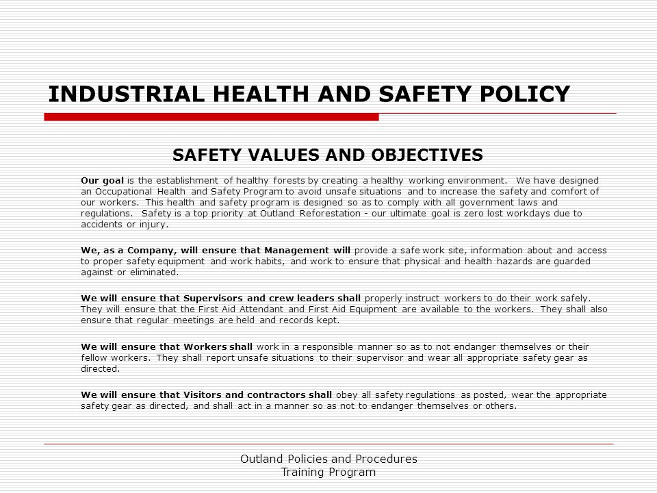 INDUSTRIAL HEALTH AND SAFETY POLICY
